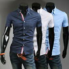 Mens Tops Casual Slim Fit Short Sleeve Trendy Purfle Button Dress Shirts