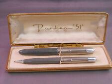 Parker 51 Vintage Gray chrome Cap Fountain Pen and ball pen set