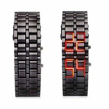 Cool Black Digital Lava Wrist Watch Iron Metal Red LED Metal Samurai Mens Boys