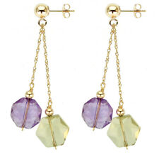 14K Yellow Gold Lever-back Earrings with 10mm Purple Amethyst and Lemon Quartz