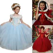 Frozen Girl Kid Cinderella Snow Queen Elsa Party Costume Fancy Dress Princess