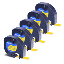 5pk Black On Yellow Plastic Label Tape Refills 12mm X 4m For Dymo Letratag 91332