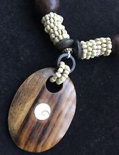 Boho Wooden Brown And Cream Corded Pendant / Necklace