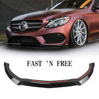 Front Bumper Lip Spoiler Body Kit For 2015-2018 Benz C-Class W205 Sport Style CF