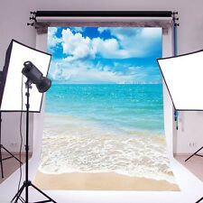 5 x 7 Ft Photography Background Vinyl Photo Backdrop Props Blue Sky Summer Beach