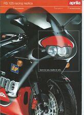 APRILIA 125 RS PROSPECTUS .BROCHURE en FRANCAIS 1999