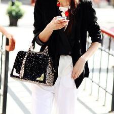 Fashion Women's Handbag Tote PU Lady Leopard Sequin Messenger Cross Shoulder Bag