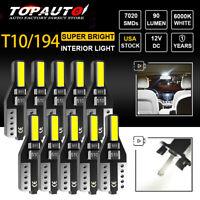 10x White LED T10 501 194 W5W 7020SMD Car CANBUS Error Free Wedge Light Bulb NEW