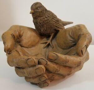 Bird Feeder Bird Bath Open Hands Blow Mould Vintage Decor (SEE DESCRIPTION)