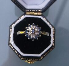 Women's Vintage 9ct Gold Quality Sapphire & Diamond Ring Size M 1/2 Weight 1.9g