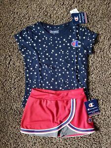 Girls Champion Skort Set Size 5 with Navy Blue Stars Champion Tee