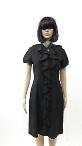 Vtg 1990s Dress Neiman Marcus Cocktail Dress LBD Ruffle Front Wool Blend SZ 4