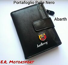 TOP QUALITY Portafoglio in pelle BLACK con logo metallico ABARTH cm 12x10