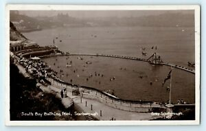 POSTCARD - Yorkshire, Scarborough, South Bay, Bathing Pool, real photo RP
