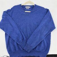 Mens PETER MILLAR Sz M Blue 100% Merino Wool Golf Sweater V Neck Pullover