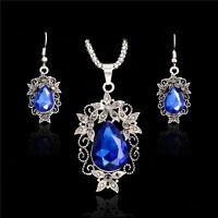 Hot Vintage Hollow Rhinestone Drop Adjustable Charm Thai Silver Top Jewelry Set