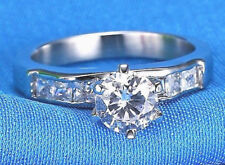 Bright Simulated Moissanite Ring_Size 8 Platinum/Steel Alloy Ideal Cut 1.5 Carat