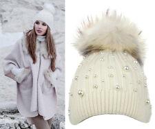 Alex Max unique designer pearls embellished Fur Pon Pon Hat -  White - Italy