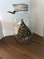 Vintage Carlton Glass Christmas Tree Design 3 Liter Ermetico Jar