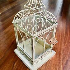 ~$65.~New~Handcrafted Metal & Glass Birdcage Terrarium Cream Shabby-Chic+Scrolls