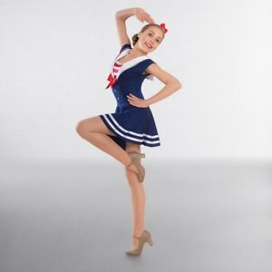 Navy Red White Sailor Dress Character Jazz Modern Tap Dance Costume