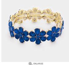 Blue Gold Stretch Stretchable Cuff Crystal Rhinestone Wedding Pageant Bracelet