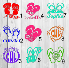 Flip flop personalized name Decal Single Color 3inchx3inch A