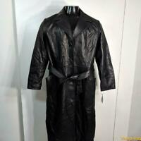 NWT $349 PRESTON & YORK Long Lambskin Leather Trench Coat Womens M black belted