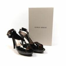 GIORGIO ARMANI Shoes Patent Black High Heel Platform Peeptoe Size 39.5 BB 27