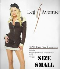 ADULT HALLOWEEN COSTUME SEXY SMALL LEG AVENUE FIRST PILOT FUR DRESS CAP GOGGLES