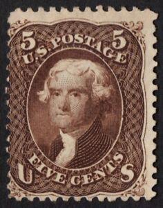 """US Sc# 76a *MINT NO GUM* { 5c BLACK BROWN JEFFERSON } """"SCARCE OF 1863 CV$ 850.00"""