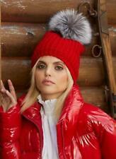 New KYI KYI Red Waffle Knit Genuine Fox Pompom Beanie Hat FREE SHIPPING