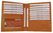 Mens Genuine Leather Bifold Wallet Slim Hipster Cowhide Credit Card and 1 ID Tan