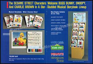 SESAME STREET Musical Storybooks__Orig. 1988 Trade Print AD / toy advert__SNOOPY