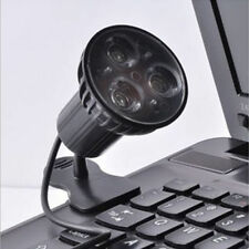 For Laptop PC Notebook Super Bright 3 LED Port Clip On Spot Black USB Light Lamp