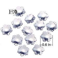 100 Clear Snowflake Crystal Beads Chandelier Lamp Prisms Xmas Wedding Decor 14mm