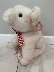 "Ty Petunia Pig Pink Classic Plush 15"" Red Ribbon Korea 1989 Hang Tag 8008 PVC"