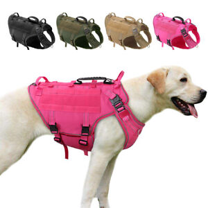 Pink Tactical Harness for Medium Dogs No Pull Military Molle Vest Labrador Boxer
