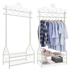 Kleiderständer Vintage-Stil Garderobenständer mit Kleiderstange 2 Ablagen HSR07W