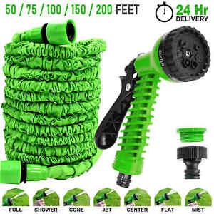 Expandable Garden Hose Pipe Spray Gun Flexible Expanding Stretch Pipes 50-200FT