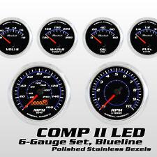 C2 Blueline 6 Gauge Set, Polished Bezels, Cobalt Blue Accents, Electric Speedo