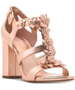 Michael Kors Womens Tricia Block-Heel T-St Soft Pink Rose Gold