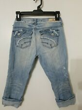 New listing Almost Famous Crop Jeans Size 3 Juniors Distressed Cuffed Destroyed Capri