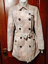AZI Jeans Trench Coat ivory tan brown peacoat jacket belted new NWOT S 4 2D
