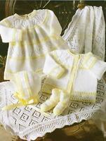 "Baby Dress Cardigan Bonnet Bootees Shawl Knitting Pattern 4 ply 12-18""  305"