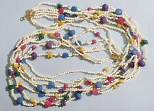 Grand collier 7 rangs de perles multicolores Bijou Vintage années 70 hippies C3