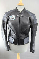 AMAZING LOOKWELL LASER BLACK & SILVER LEATHER BIKER JACKET SIZE 16