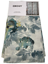 NEW DKNY Aquarelle Teal Blue Yellow Floral Sheer Windown Curtains 50x96 2PC