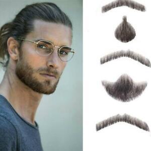 Mumupi Short Man Fake Moustache False Beard Wig Hair Lace Invisible Hand Made