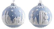 Wedgwood Jasperware English Countryside Blue & White Ball Ornament New (S)